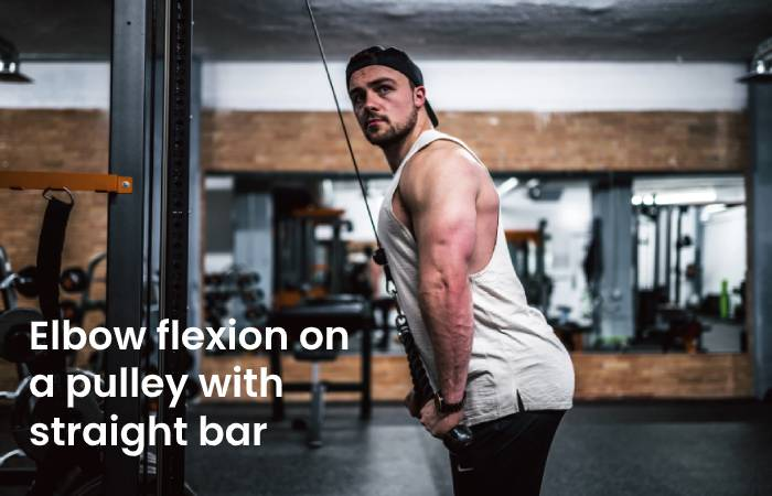 Elbow flexion on a pulley with straight bar